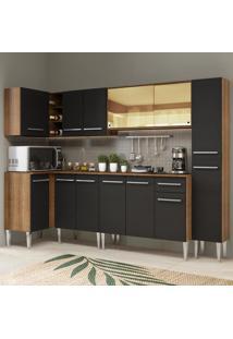 Cozinha Completa De Canto Madesa Emilly Wave Com Armário Vidro Reflex, Balcão E Paneleiro