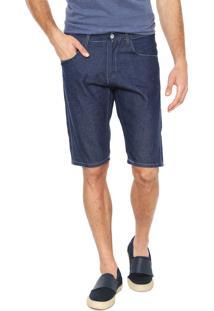 Bermuda Jeans Rock Blue Reta Pespontos Azul-Marinho