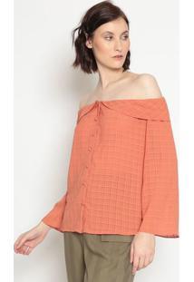 Blusa Ciganinha Com Babado- Laranja Escurola Chocolãª