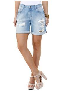 Bermuda Feminina Jeans Strass Destroyed Marisa