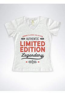 Camiseta Feminina Gola V Frases Cool Tees Limited Edition Mescla - Cinza - Feminino - Algodã£O - Dafiti