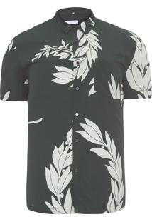 Camisa Masculina Floral Olive - Verde