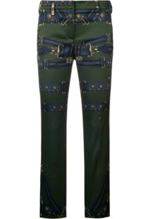 f619458b4 Farfetch. Calça Versus Kj Feminina Azul Marinho Estampada Slim Elastano -  Green