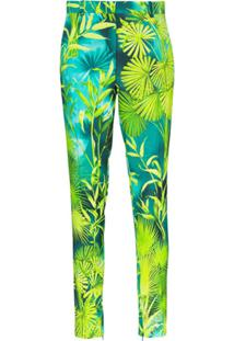 Versace Palm-Print Slim Fit Trousers - Verde