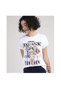 Blusa Feminina Mulher Maravilha Batgirl E Supergirl Manga Curta Decote Redondo Branca