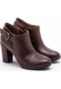 Ankle Boot Cravo & Canela Couro Conhaque 34
