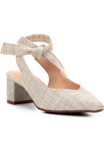 Scarpin Shoestock Salto Baixo Amarração - Feminino-Off White