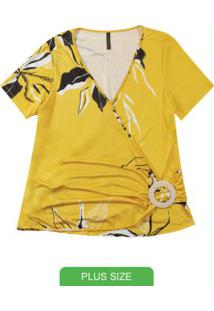 Blusa Decote V Estampada Amarelo