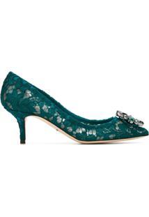 Dolce & Gabbana Scarpin De Renda - Verde