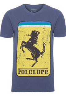 Camiseta Masculina Estampada Folclore - Azul