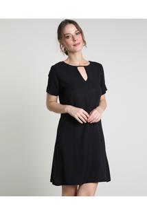 Vestido Feminino Curto Com Vazado Manga Curta Preto