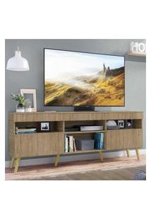 "Rack Tv 65"" Com Pés Retrô E 2 Portas Paris Multimóveis Rustic/Natural"
