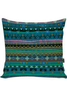 Capa De Almofada Indians- Azul & Verde- 42X42Cm-Stm Home