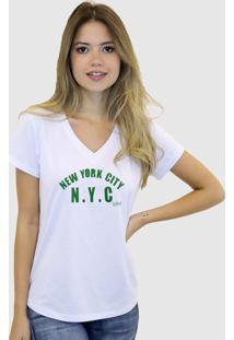 Camiseta Baby Look Feminina Basica Suffix Branca Estampa Nyc New York City Verde Gola V