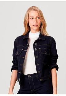 Jaqueta Em Malha De Algodão Com Bolso Hering Feminina - Feminino-Azul
