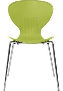 Cadeira Formiga Em Polipropileno Na Cor Verde Com Pés Cromados