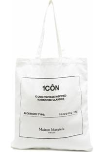 Maison Margiela Bolsa Tote Shopper Com Estampa Gráfica - Branco