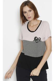 "Camiseta ""Love"" Com Recortes- Rosê & Cinza- Dress Toênfase"