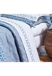 Roupa De Cama / Lençol Livorno King Em Fio Egipicio Percal 400 Fios Cor Azul E Branco Com 4 Peças - Ruth Sanches - Kanui