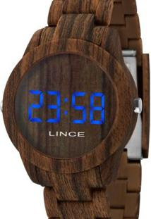 Relógio Lince Digital Madeira Feminino - Feminino-Marrom