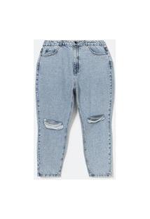 Calça Mom Jeans Marmorizada Com Rasgo No Joelho Curve & Plus Size Azul
