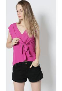Blusa Com Amarração Frontal- Rosa- Colccicolcci