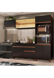 Cozinha Completa Madesa Reims Xa260001 Com Armário E Balcão - Preto