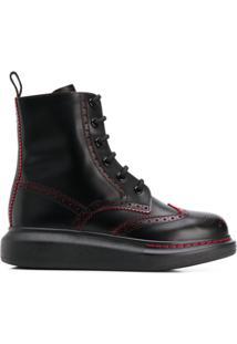 Alexander Mcqueen Brogue Ankle Boots - Preto