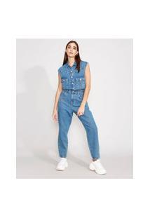 Macacão Jeans Com Bolsos Sem Manga Azul Médio