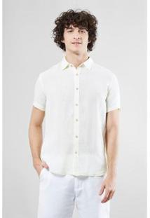 Camisa Mc Reserva Linho Verano Masculina - Masculino-Creme