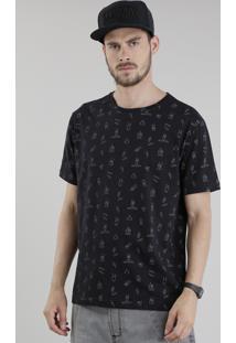 "Camiseta Estampada ""Rock'N'Roll"" Preta"