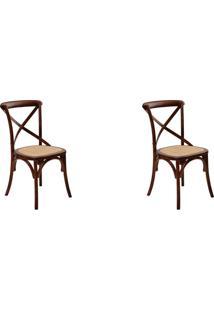 Kit 02 Cadeiras Katrina Madeira Escura Rivatti