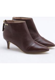 Ankle Boot Couro Marrom Tabacco