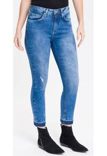 Calça Jeans Feminina Five Pockets Slim Stone Cintura Alta Azul Médio Calvin Klein - 34