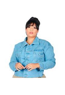 Jaqueta Jeans Plus Size Clara Barra Desfiada Manga Longa Azul