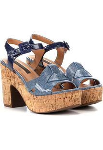 Sandália Couro Jorge Bischoff Flatform Jeans Feminina - Feminino-Azul