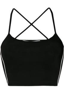 Off-White Back Crisscross Cropped Top - Preto