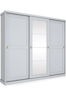 Armário Duetto 03 Portas De Correr Sendo 01 Com Espelho, Padrao - Branco Hp