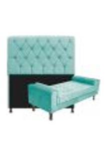 Kit Cabeceira Lady E Recamier Félix 140 Cm Casal Suede Azul Tiffany - Amarena Móveis