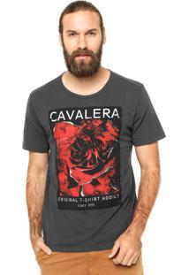 Camiseta Manga Curta Cavalera Rosa Cinza