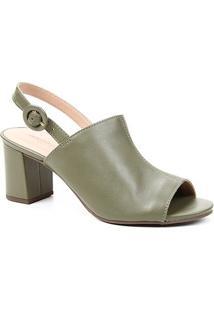 Sandália Couro Shoestock For You Salto Bloco Médio Feminina - Feminino-Verde