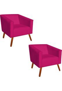 Kit 02 Poltrona Decorativa Sara Suede Pink Pés Palito - D'Rossi