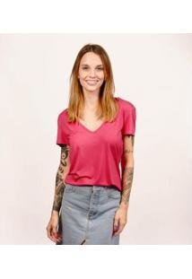 Camiseta Decote V Em Modal Cora Básico Feminina - Feminino-Rosa