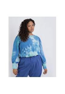 Blusa Feminina Mindset Plus Size Tie Dye Manga Longa Bufante Decote Redondo Azul