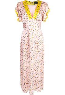 Cynthia Rowley Pamela Flutter Sleeve Maxi Dress - Rosa