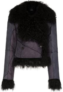 Ann Demeulemeester Panelled Shearling Jacket - Preto
