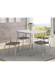 Mesa 1510 Branca Cromada Com 4 Cadeiras 1700 Camurça Conhaque Carraro