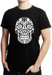 Camiseta Criativa Urbana Caveira Mexicana - Masculino-Preto