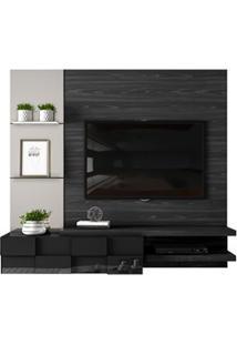 Painel Home Suspenso Para Tv Até 55 Pol. Com Espelho Lago Preto Matte/