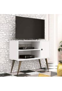Rack Para Tv Até 32 Polegadas 1 Porta Reale Retrô Edn Móveis Branco